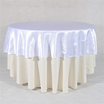 White 108 Inch Round Satin Tableclothss