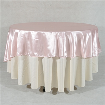 Light Pink 108 Inch Round Satin Tableclothss