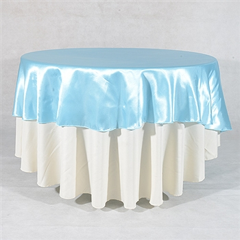 Light Blue 108 Inch Round Satin Tableclothss