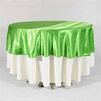 Apple Green 108 Inch Round Satin Tableclothss