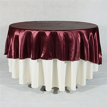Burgundy 108 Inch Round Satin Tableclothss