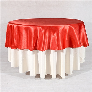 Red 108 Inch Round Satin Tableclothss