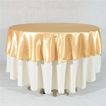 Gold 108 Inch Round Satin Tableclothss