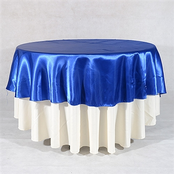 Royal Blue 108 Inch Round Satin Tableclothss