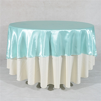 Aqua Blue 108 Inch Round Satin Tableclothss