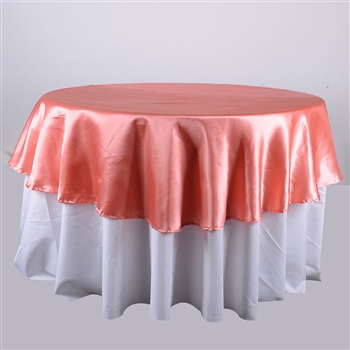 Coral 108 Inch Round Satin Tablecloths