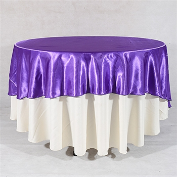 Purple 108 Inch Round Satin Tableclothss