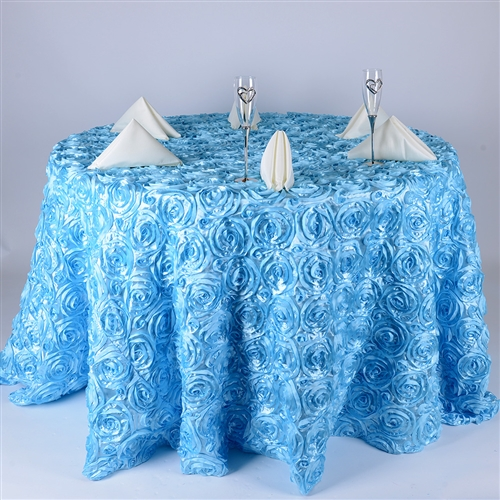 Light Blue 120 Inch Round Rosette Satin Tablecloths