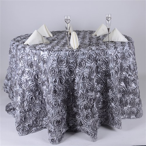 Silver 120 Inch Round Rosette Satin Tablecloths