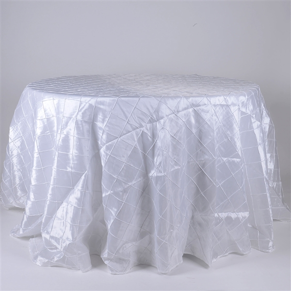 White 120 inch Round Pintuck Satin Tablecloth