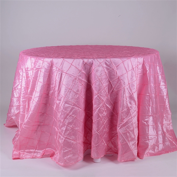 Pink 120 inch Round Pintuck Satin Tablecloth