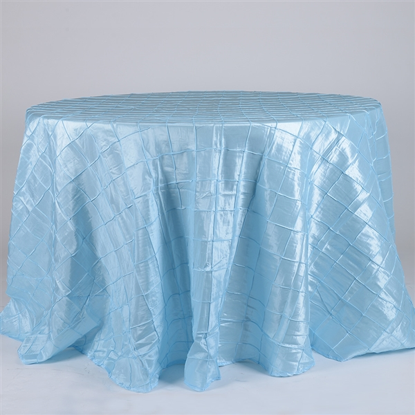 Light Blue 120 inch Round Pintuck Satin Tablecloth