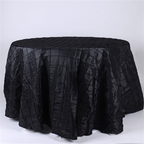 Black 120 inch Round Pintuck Satin Tablecloth