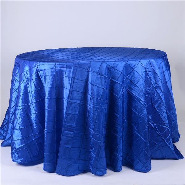 Royal Blue 120 inch Round Pintuck Satin Tablecloth