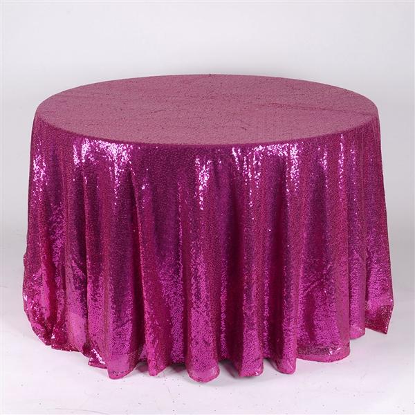 Fuchsia 120 inch Round Duchess Sequin Tablecloth