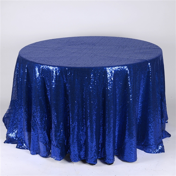 Navy Blue 120 inch Round Duchess Sequin Tablecloth