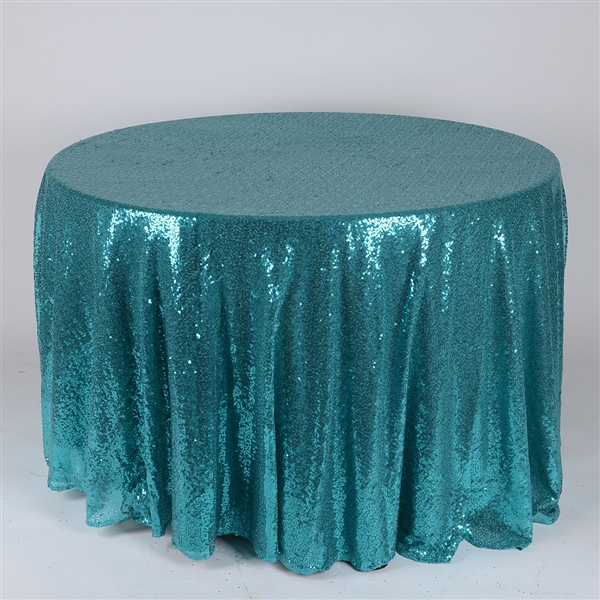 Turquoise 120 inch Round Duchess Sequin Tablecloth