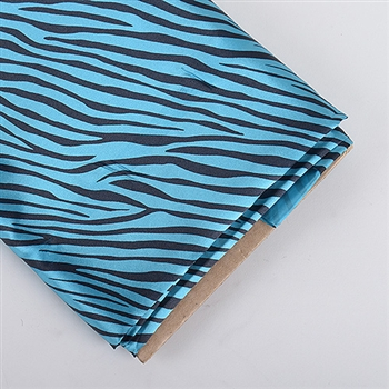 Turquoise Animal Print Satin Fabric 58x10 Yards