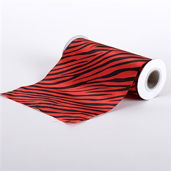 Red Animal Print Satin Fabric 6x10 Yards