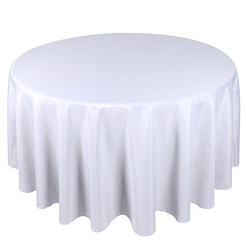 White 132 Inch Premium Round Polyester Tablecloths