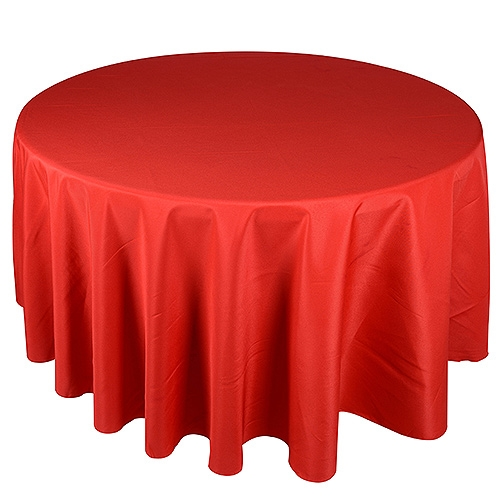 Red 132 Inch Round Tablecloths