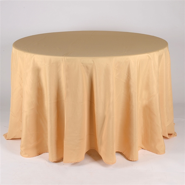 Gold 132 Inch Round Tablecloths