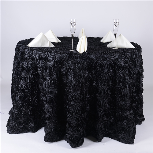 Black 132 Inch Round Rosette Satin Tablecloths