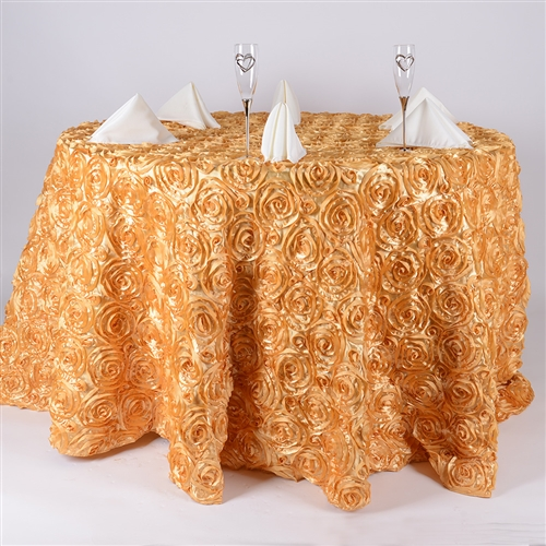 Gold 132 Inch Round Rosette Satin Tablecloths