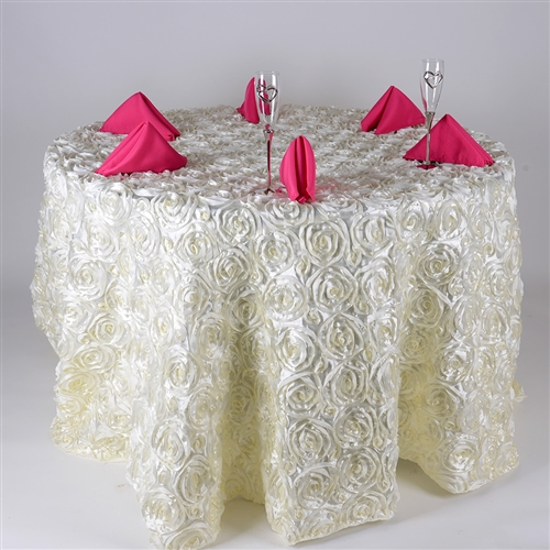 Ivory 132 Inch Round Rosette Satin Tablecloths