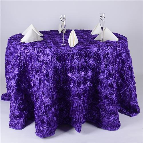 Purple 132 Inch Round Rosette Satin Tablecloths