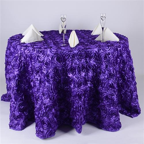 Purple 132 Inch Round Rosette Satin Tablecloths