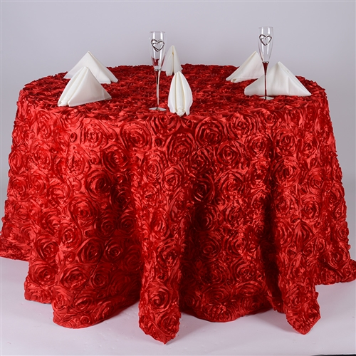 Red 132 Inch Round Rosette Satin Tablecloths