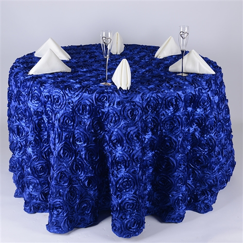 Royal Blue 132 Inch Round Rosette Satin Tablecloths