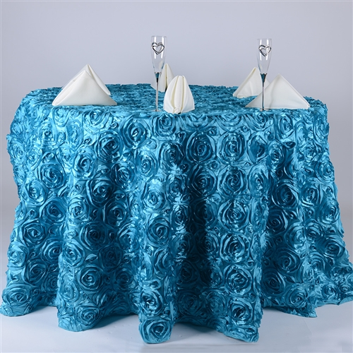 Turquoise 132 Inch Round Rosette Satin Tablecloths