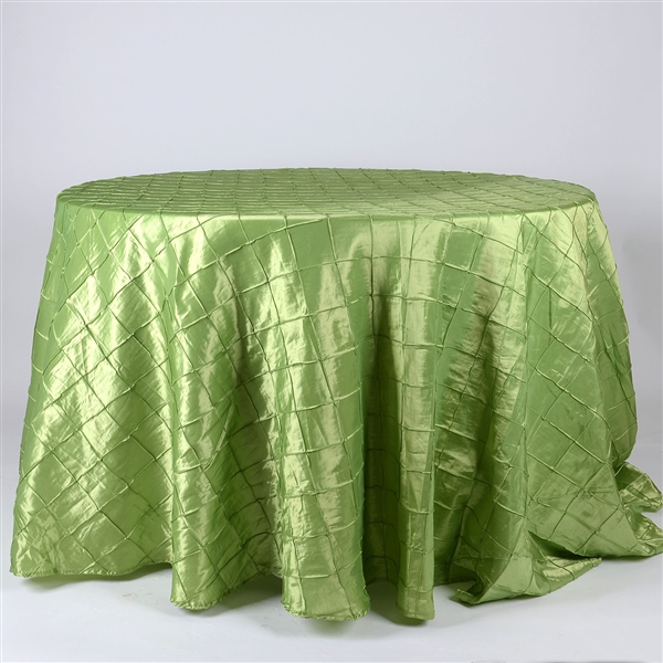 Apple Green 132 inch Round Pintuck Satin Tablecloth