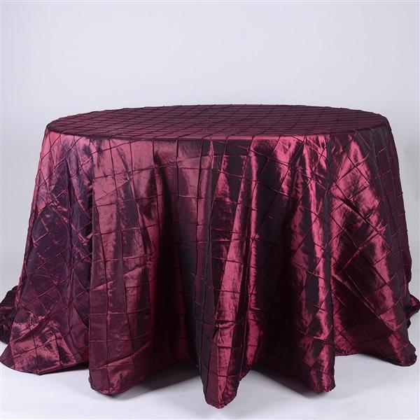 Burgundy 132 inch Round Pintuck Satin Tablecloth