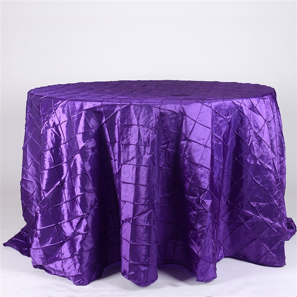 Purple 132 inch Round Pintuck Satin Tablecloth