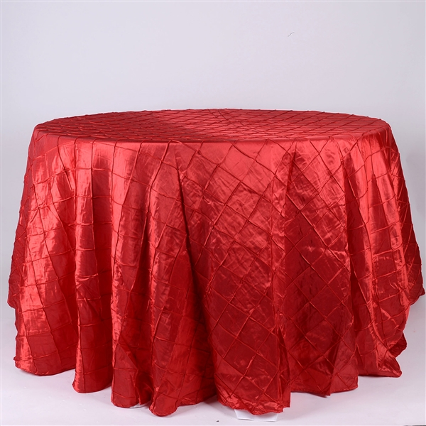 Red 132 inch Round Pintuck Satin Tablecloth