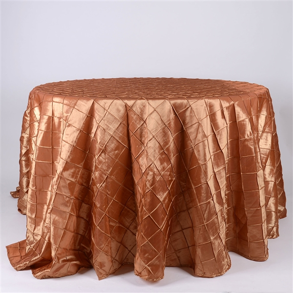 Gold 132 inch Round Pintuck Satin Tablecloth
