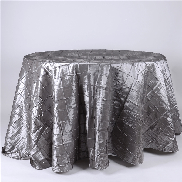 Silver 132 inch Round Pintuck Satin Tablecloth