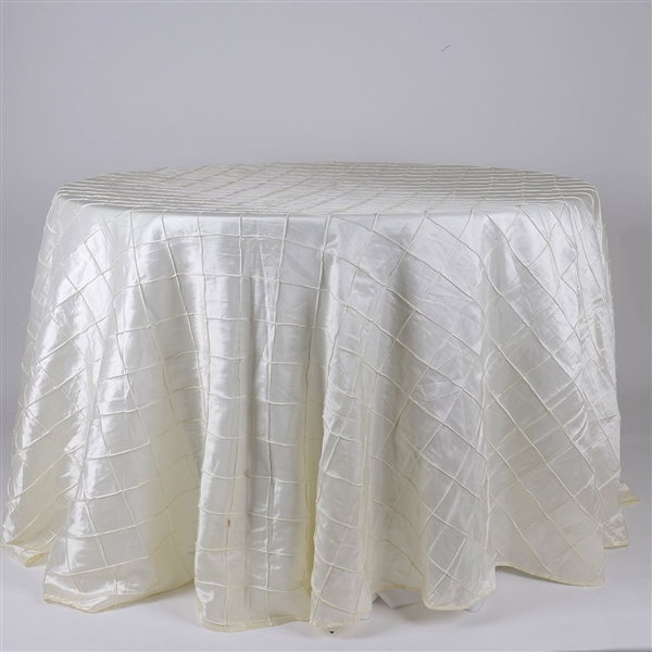 Ivory 132 inch Round Pintuck Satin Tablecloth