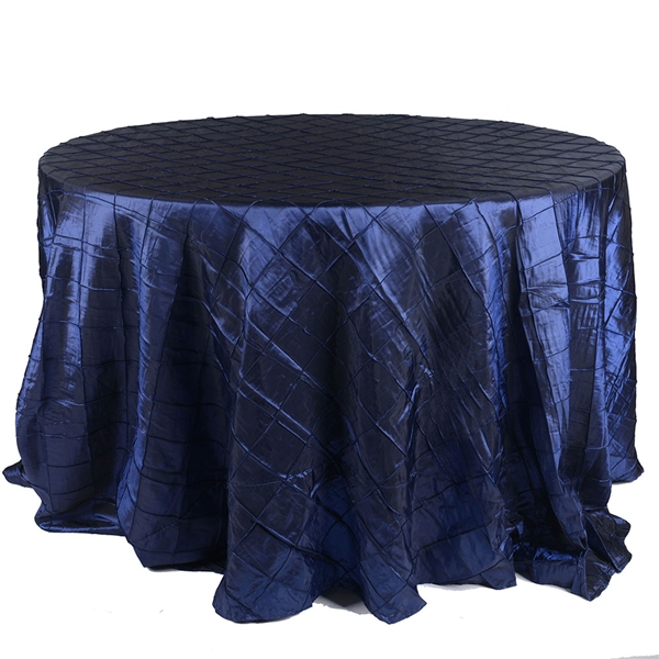 Navy Blue 132 inch Round Pintuck Satin Tablecloth