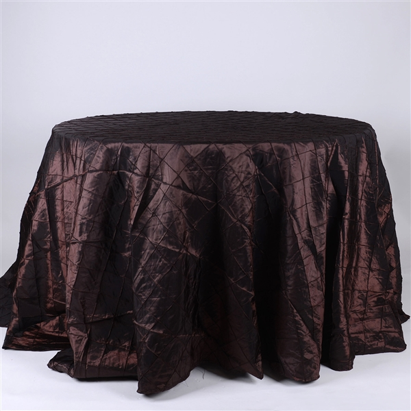 Chocolate Brown 132 inch Round Pintuck Satin Tablecloth