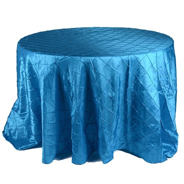 Turquoise 132 inch Round Pintuck Satin Tablecloth
