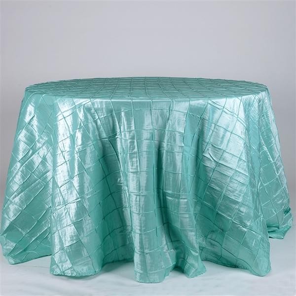 Aqua Blue 132 inch Round Pintuck Satin Tablecloth