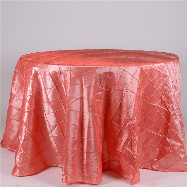 Coral 132 inch Round Pintuck Satin Tablecloth