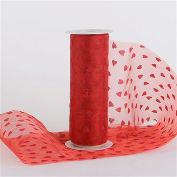 Red Organza Heart Rolls 6 inch x 10 yards