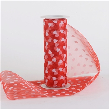 Red with White Organza Heart Rolls 6 inch x 10 yards