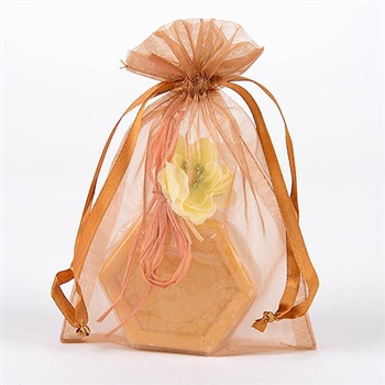 10 Old Gold 20x21 Organza Favor Bags