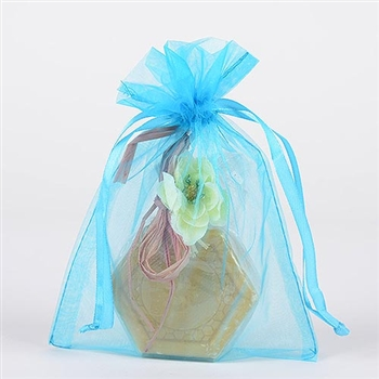 10 Turquoise 20x21 Organza Favor Bags